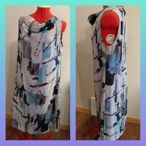 Armani silk shift dress 12 grey abstract cowl neck